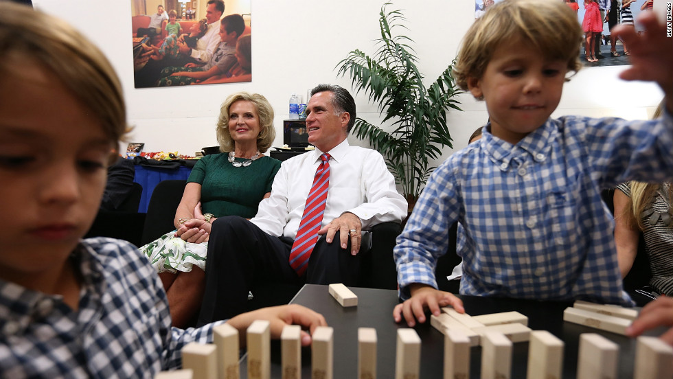 "Romney and his wife, Ann, sit backstage with their family before the start of Monday's debate with President Obama. It was the candidates' final showdown before Election Day on November 6. <a href=""http://www.cnn.com/2012/10/16/politics/gallery/second-presidential-debate/index.html"">See the best photos from the second presidential debate.</a>"