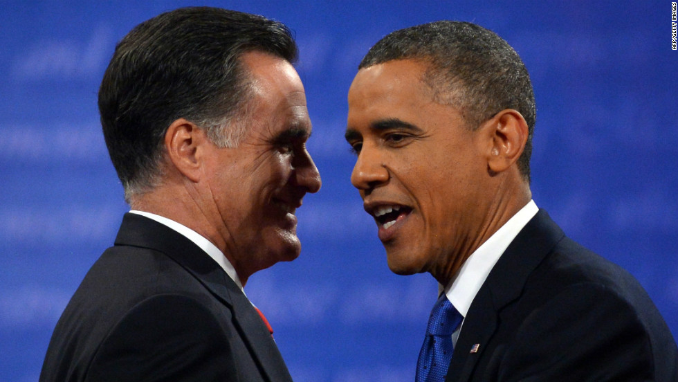 Romney and Obama greet each other at the end of the debate Monday night.