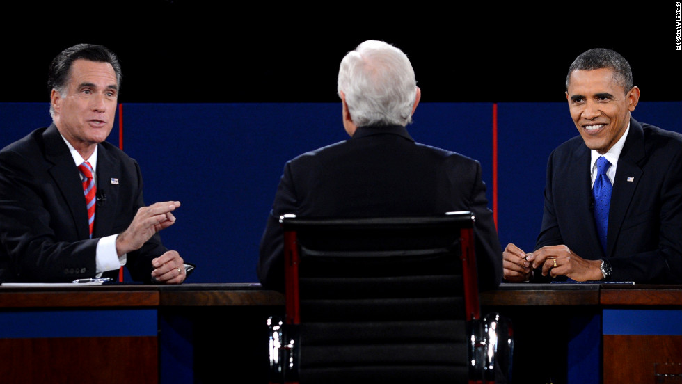 Romney and Obama participate in the debate moderated by Bob Schieffer of CBS News.