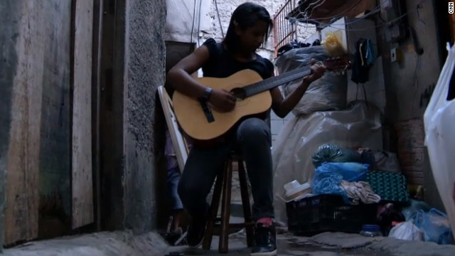 Yanca Leite, 15, has a modest dream to become a music teacher for other slum children like herself.