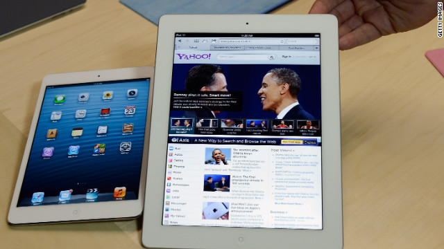 The iPad Mini, left, next to the full-size, fourth-generation iPad. Apple unveiled both devices October 2012.
