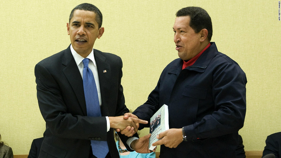 "Barack Obama received a somewhat surprising endorsement in early October when Hugo Chavez called said, ""I'd vote for Obama."" In 2009, Chavez shook hands with the president and gave him the book ""Open Veins of Latin America: Five Centuries of the Pillage of a Continent"" during a summit."