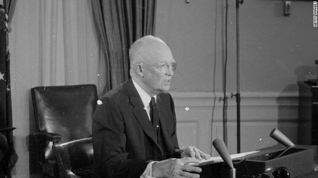 President Dwight D. Eisenhower addresses the nation on U.S. intervention in Formosa (now Taiwan), in 1958.