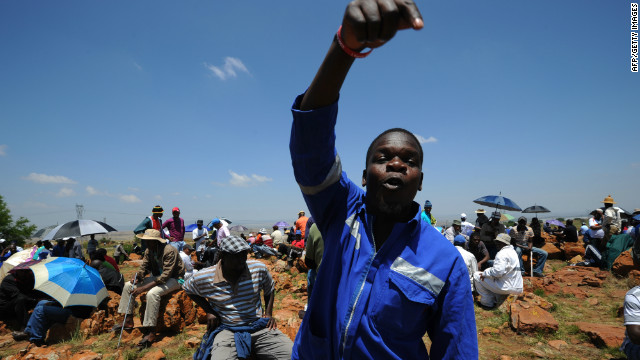 A striking miner at the AngloGold Ashanti mine in Carletonville, 84kms northwest of Johannesburg, on October 22, 2012.