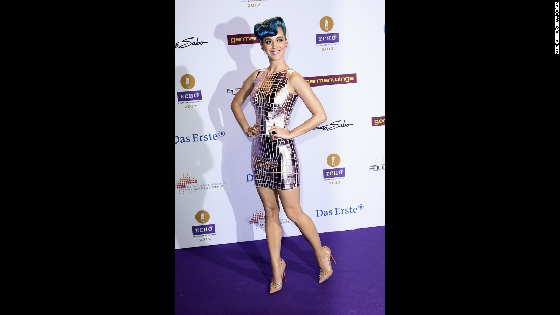 "The singer looks like a sexy disco ball in Paco Rabanne at the 2012 Echo Awards in Berlin. She paired her mirrored frock with embellished Christian Louboutin pumps that spell ""sex."""