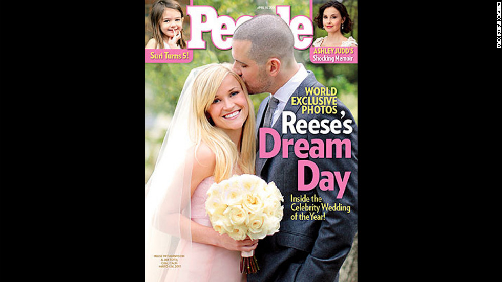 Reese Witherspoon was on the cover of People Magazine in a blush Monique Lhuillier wedding gown. The Oscar-winning actress wed Jim Toth in April 2011.