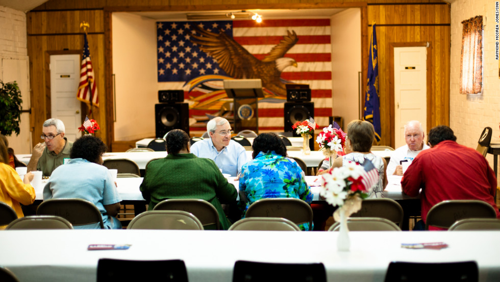The crowd was thin at the American Legion barbecue, but Barrow made the most of it. He knows every vote will count in November.