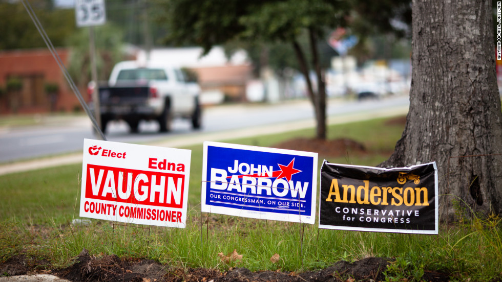 Barrow is facing a challenge from Republican state legislator Lee Anderson, who plays up his rural Georgia roots and even has an image of a tractor on his campaign signs. Anderson refuses to debate Barrow until the Democrat announces his support for Barack Obama in front of a camera.