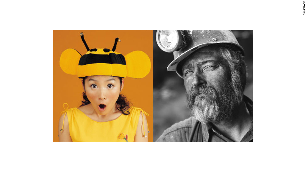 Combine a bumblebee costume with a coal minor and you get a spooky chord and a clever costume.