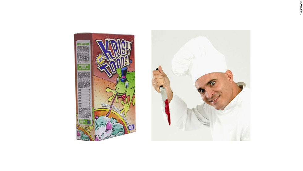 Only a demented chef could be a cereal killer. Combine a box of cereal, a chef hat and a bloody knife for the full effect.