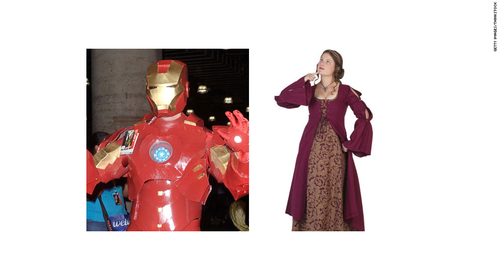 "Get more mileage out of your Ren Fest dress by adding an Iron Man mask. Extra points if you hum ""Run to the Hills"" while in costume."