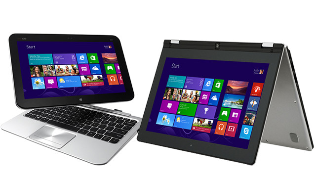 The new Windows 8 operating system running on an HP Envy x2 (left) and a Lenovo IdeaPad Yoga (right).