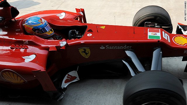 The Italian navy's flag is featured on Ferrari's cars for the Indian Grand Prix in New Delhi