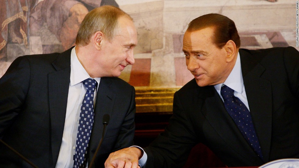 Russian Prime Minister Vladimir Putin and Berlusconi attend a press conference in Lesmo, Italy, on April 26, 2010.