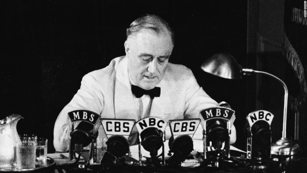 "Franklin D. Roosevelt declares an ""unlimited"" national state of emergency in a radio broadcast on May 27, 1941, in response to German aggression during World War II."