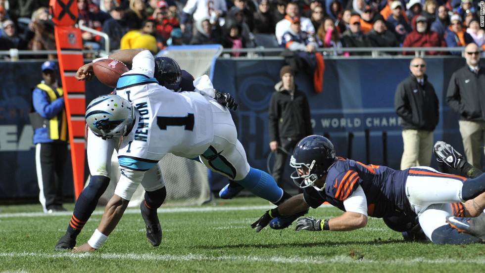 Quarterback Cam Newton of the Carolina Panthers fumbles at the goal line against the Chicago Bears during Sunday's game at Soldier Field in Chicago.