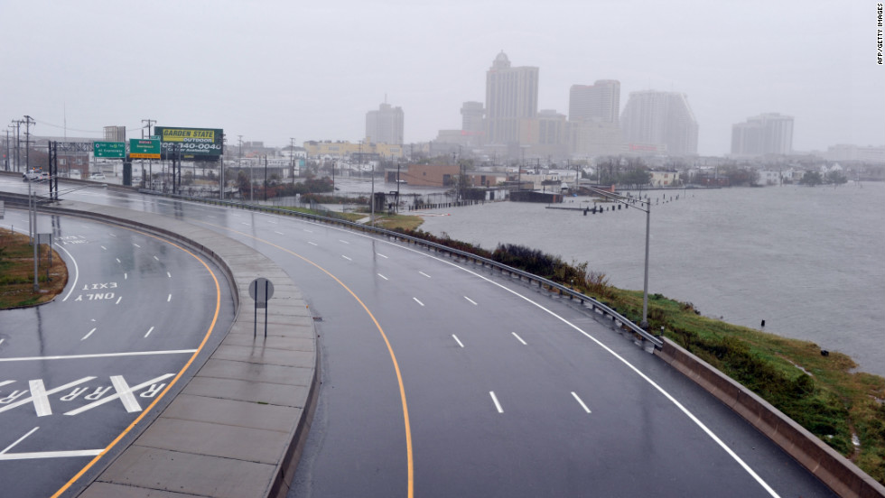 A road leading to casinos in Atlantic City is empty before the hurricane makes landfall on Monday.