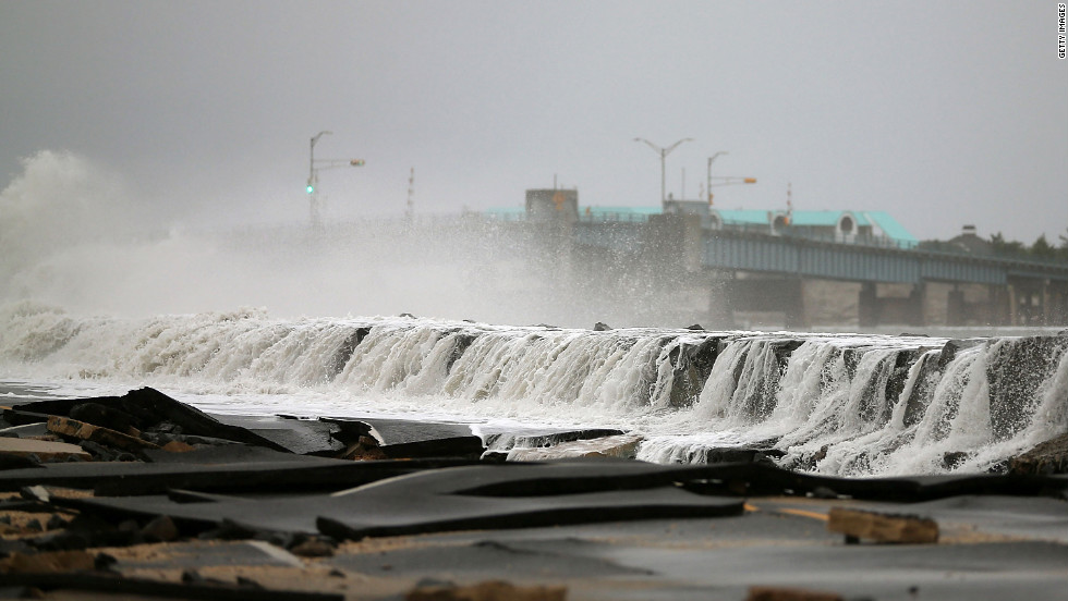 Heavy surf buckles Ocean Avenue in Avalon, New Jersey, on Tuesday.