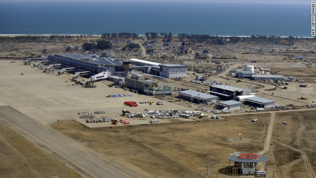 An aerial view of Sendai airport is shown after clean-up operations following the tsunami on April 1, 2011.