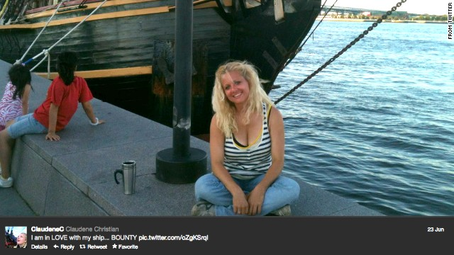 Claudene Christian tweeted this image of her and the Bounty on June 23.