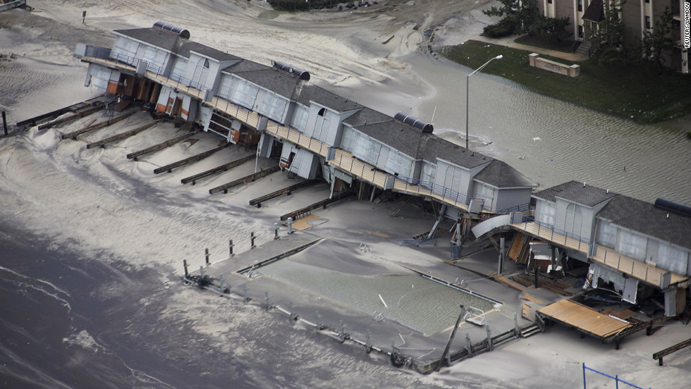 "Homes and other buildings in Brigantine were destroyed in Sandy's wake. New Jersey Gov. Chris Christie described the devastation in the state as ""unthinkable."""