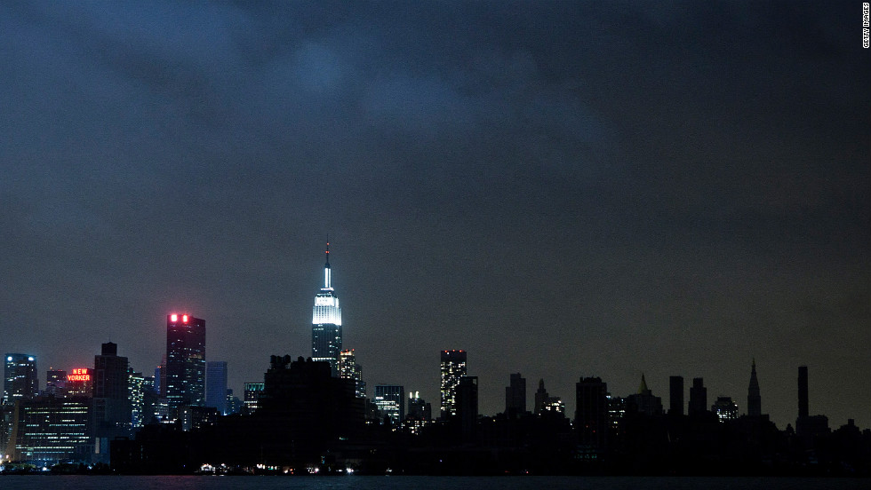 Much of the New York City skyline sits in darkness Tuesday evening after damage from Superstorm Sandy knocked out power. About 6.9 million customers are without power in 15 states and the District of Columbia, according to figures compiled by CNN from power companies.