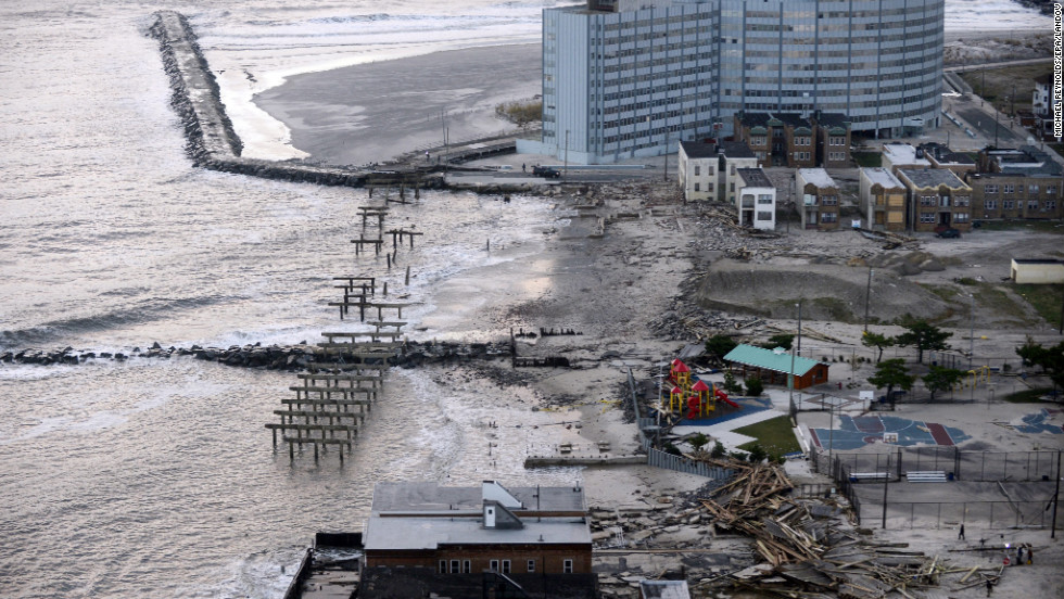 Waterfront property in Atlantic City lays in tatters on Wednesday. Transportation in the state was crippled by floodwaters, as well.