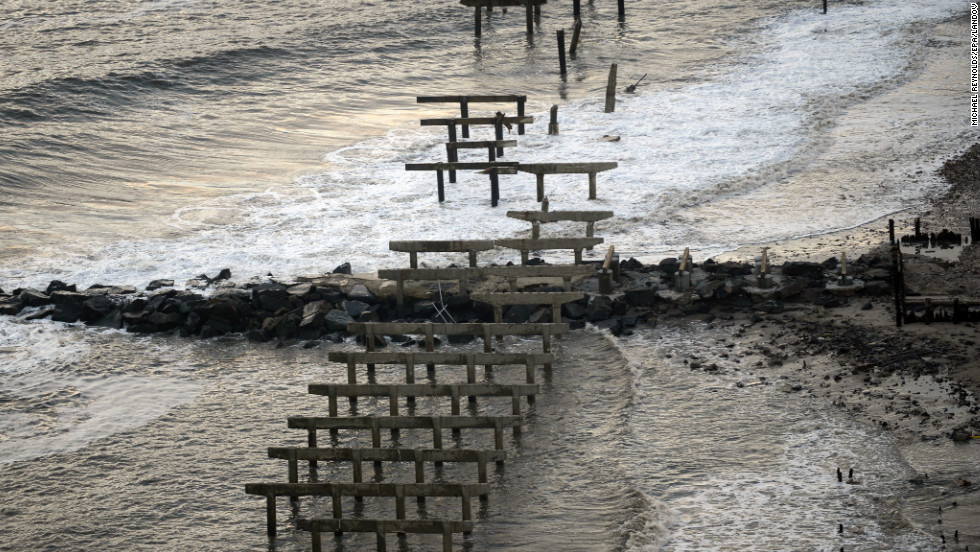 Concrete piers are all that remain of the destroyed boardwalk in Atlantic City on Wednesday.