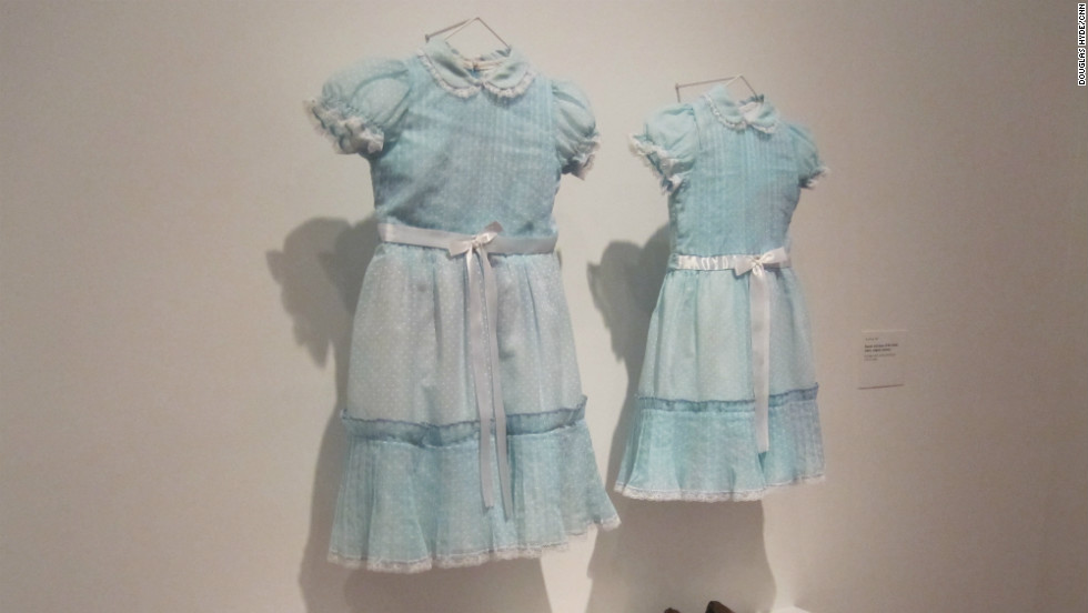 "The blue dresses worn by the ghostly twins of ""The Shining"" are just as chilling off the movie set."