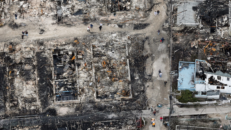 An overview of the fire damage in Queens, New York, following Hurricane Sandy. Residents in hard-hit areas sifted through the wreckage of  Sandy on Wednesday as millions remained without power.