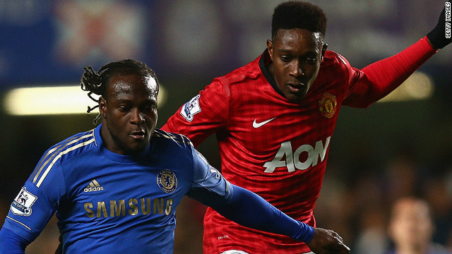 Manchester United's Danny Welbeck, right, appeared to be the target of alleged racist abuse during his side's defeat at Chelsea.