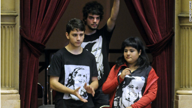 Argentinian youngsters attend a Chamber of Deputies debate over lowering the voting age in Buenos Aires on October 31, 2012.
