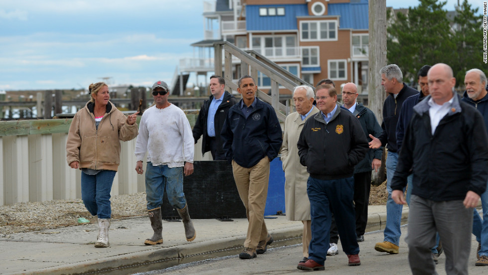 President Barack Obama surveys the damage in a Brigantine neighborhood.
