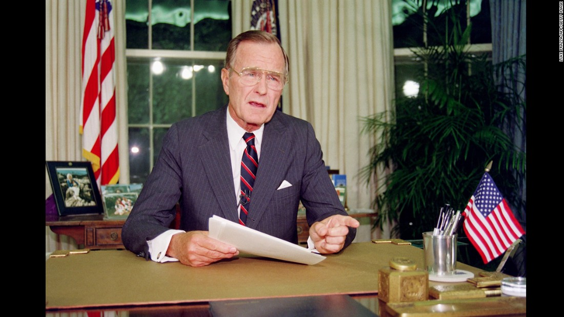 George H.W. Bush (1989-1993) was a former CIA director and served two terms as vice president under Ronald Reagan. His approval rating at home soared after he led an international coalition to oust Iraq from Kuwait, and communism in Eastern Europe fell on his watch. But he lost his bid for re-election amid a sluggish economy and after reneging on a promise not to raise taxes.