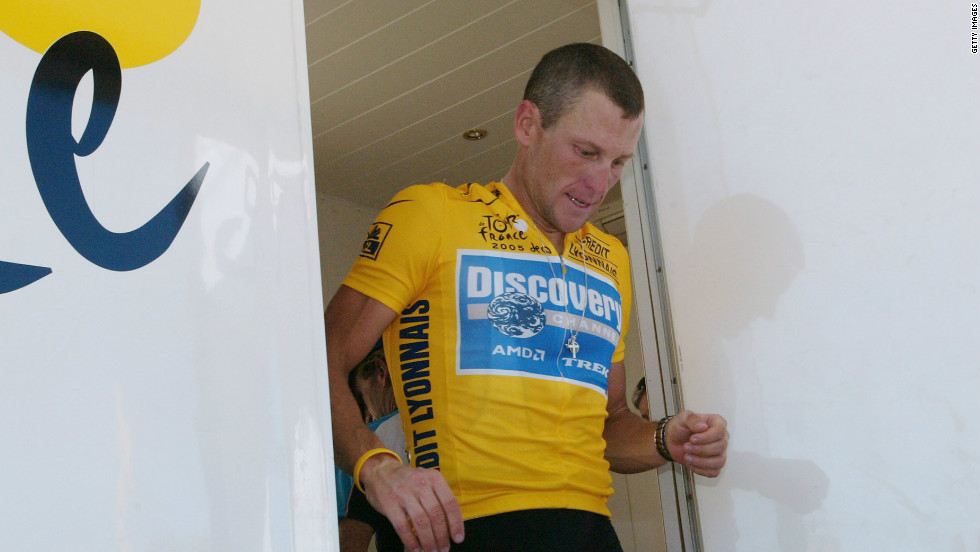 Despite taking over 200 drug tests, Armstrong -- seen here leaving an anti-doping control center during the 2005 Tour de France -- never recorded a positive result, prompting some to question the real nature of modern-day sport.