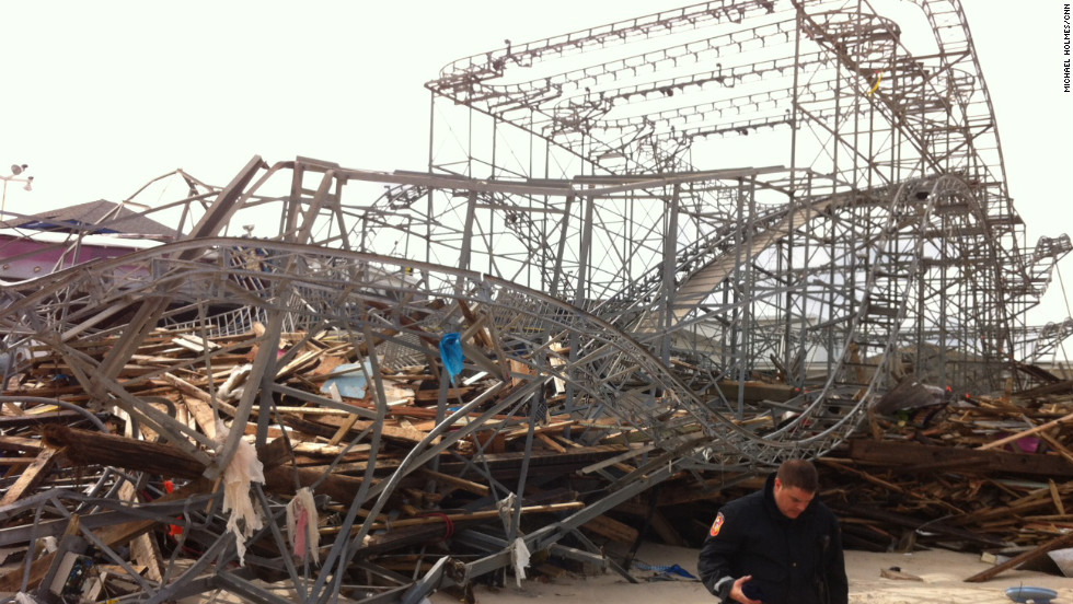 FunTown Amusement Pier in Seaside Heights, New Jersey, was washed away. The roller coaster was lost.