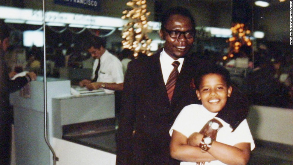 President Obama with his father, Barack Obama Sr., in an undated family snapshot from the 1960s.