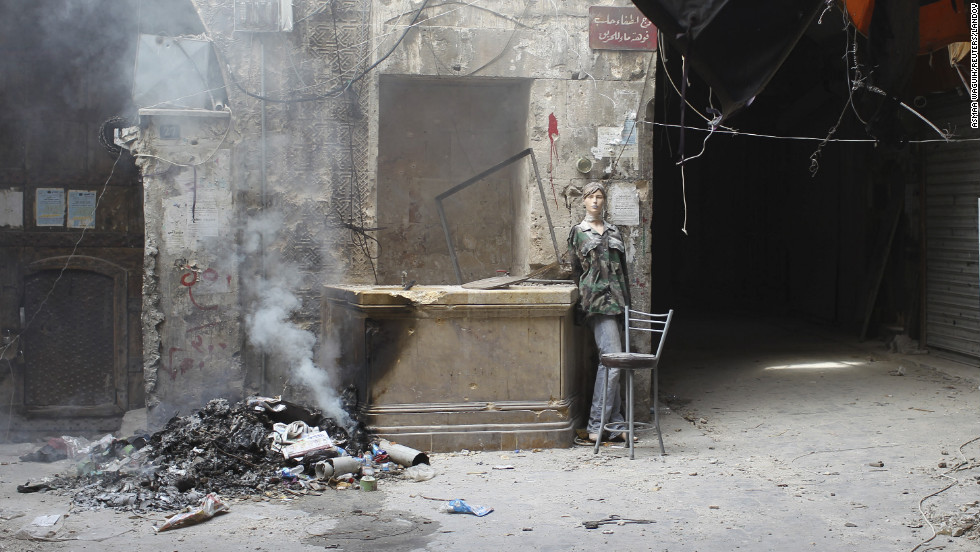 A mannequin used by rebel fighters as a decoy is seen in an area where clashes continue with pro-government forces in Aleppo on Friday, November 2.