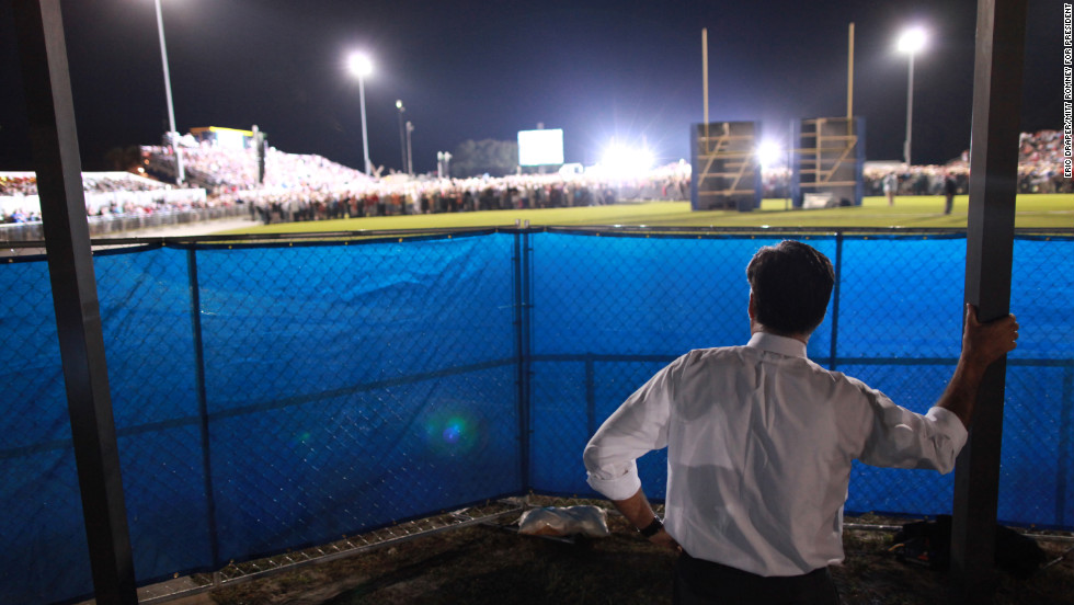 Romney waits backstage before speaking to thousands at the football field at Land O' Lakes High School in Florida on Oct. 27, 2012.