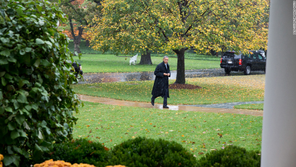 After cancelling an appearance at a campaign event in order to return to Washington to monitor the response to Hurricane Sandy, Obama arrives at the White House on Oct. 29, 2012.