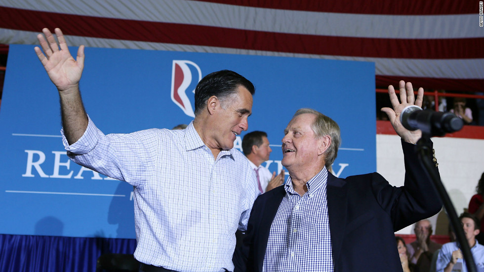 Golf legend Jack Nicklaus believes Mitt Romney's business acumen will provide a brighter future for his children and grandchildren in the financially-troubled United States.