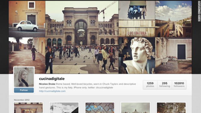 Instagram's new Web profiles will feature a selection of users' recently shared photographs above a profile photo and bio.