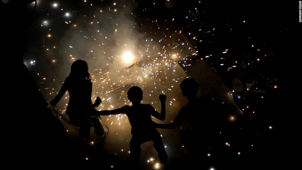 During Diwali it is common to set off fire crackers as the noise is believed to herald the defeat of evil and catch the attention of the gods.
