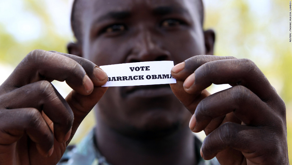 A man displays his ballot during a mock vote in Kogelo, Kenya.