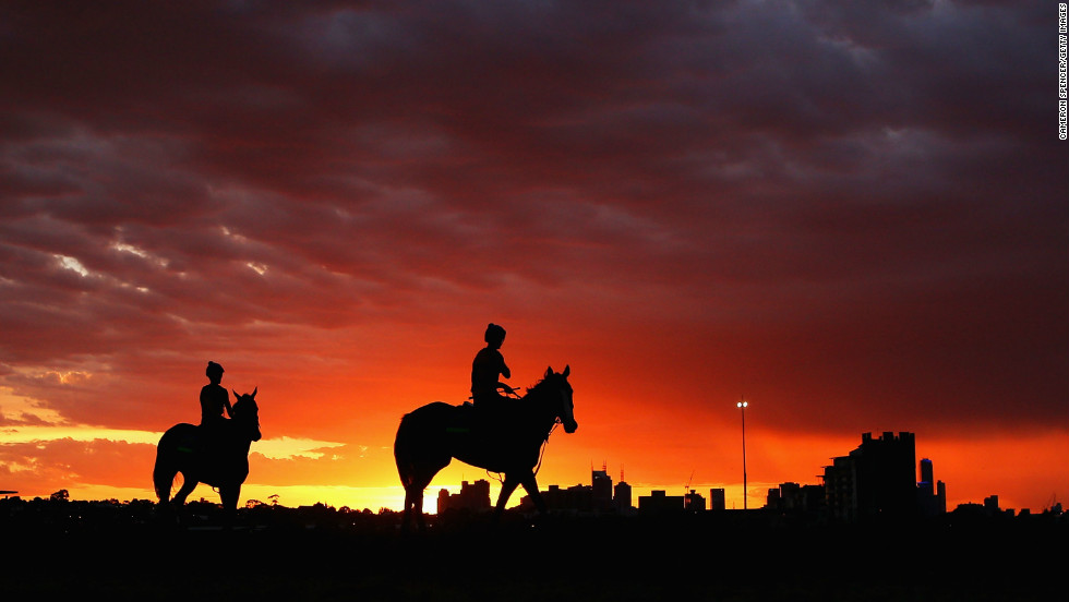 Track riders head out for a trackwork session ahead of the big day,on November 5, Melbourne, Australia.