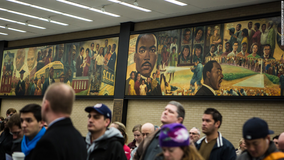 People line up to cast their ballots at the Martin Luther King Jr. Memorial Library in Washington, D.C.