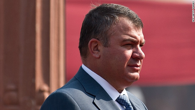 A file photo of Russian Defense Minister Anatoly Serdyukov, pictured on October 10, 2012.