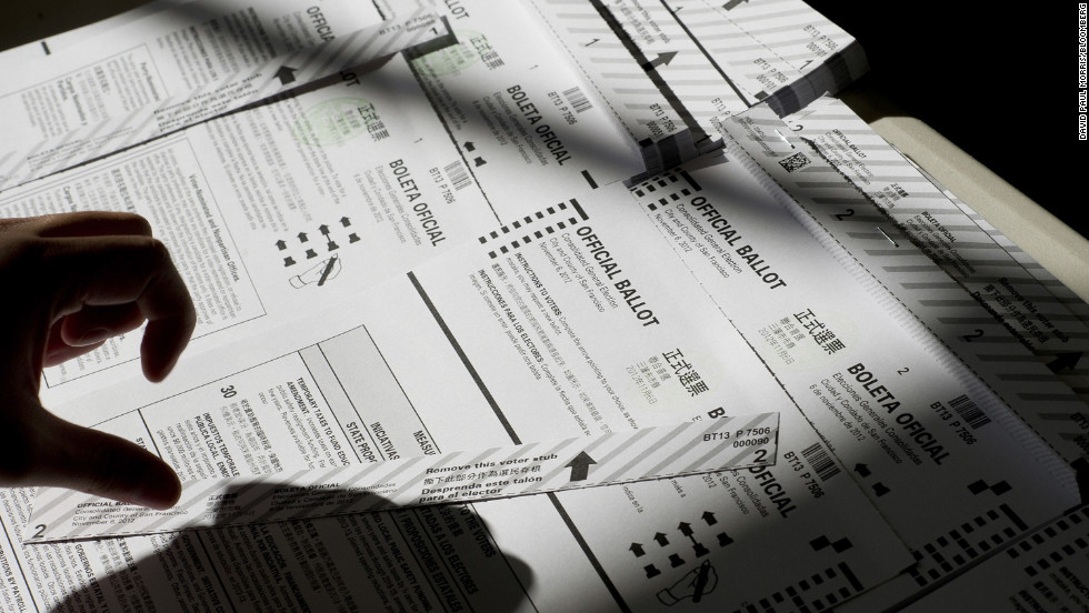 A volunteer prepared ballots at a polling station in San Francisco, California.