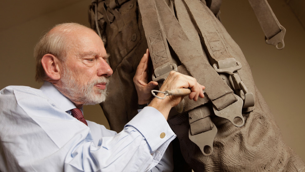 Like Alex Ferguson, sculptor Philip Jackson was born in Scotland. Here he is pictured working on The Bomber Command Memorial Sculpture, which is situated in London's Green Park, and was unveiled by the Queen in June.