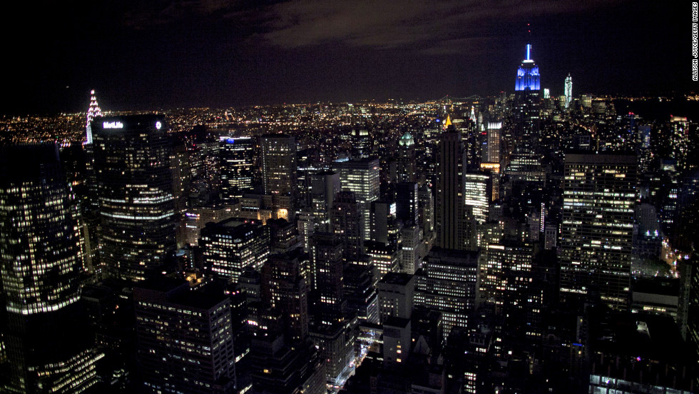 The Empire State Building in New York City was lit in Democratic blue after President Obama won the hotly contested election.